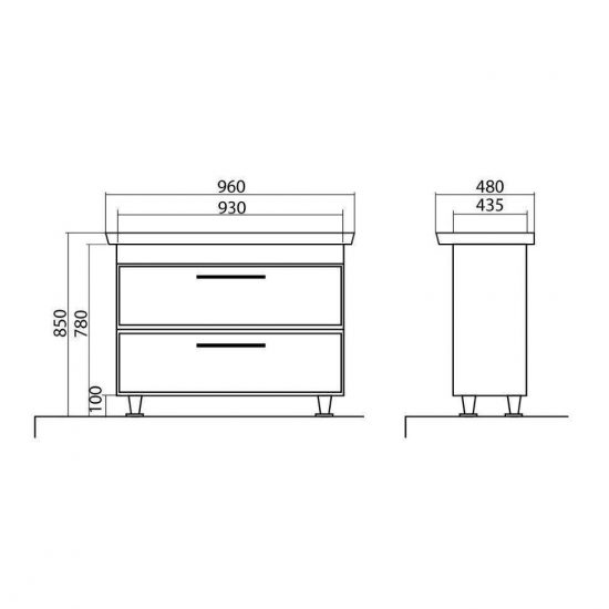 Схема Тумба Паола напольная 96 см с умывальником