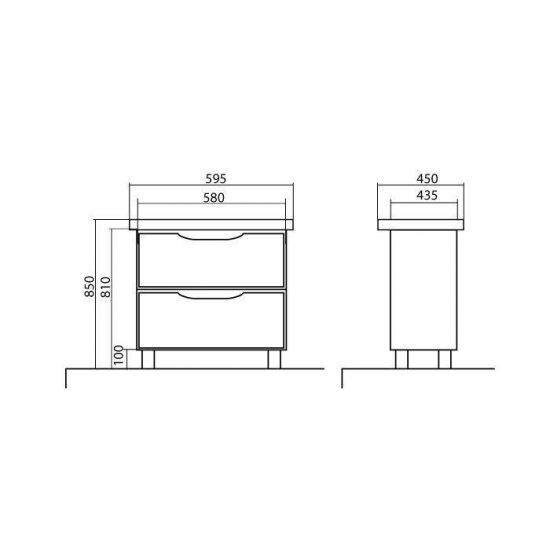 Схема Тумба Венеция напольная 60 см Белая с умывальником