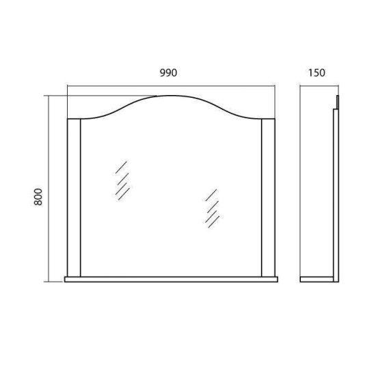 Схема Зеркало Арт Деко 100 см айвори с подсветкой