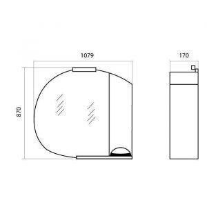 Схема Зеркало Глория 105 см с пеналом слева R, L и подсветкой