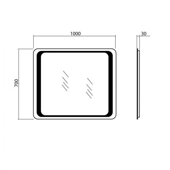 Схема Зеркало Омега Люкс 100 см с LED подсветкой