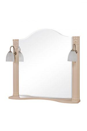 Зеркало Арт Деко 80 см айвори с подсветкой